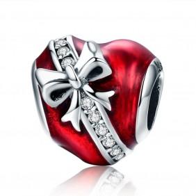 Charms Serce czerwone Kokardka 925 do Pandora Apart
