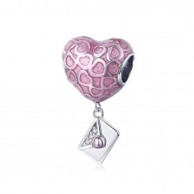 Charms Serce różowe Torebka 925 do Pandora Apart