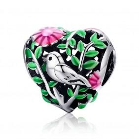 Charms zielone Serce Ptak Kwiaty 925 do Pandora Apart