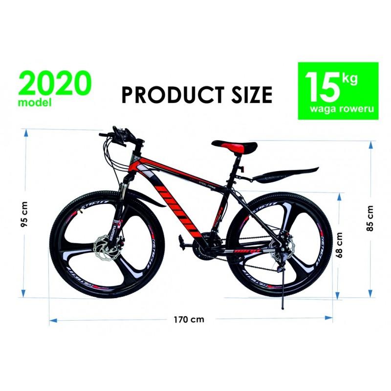 """Rower Górski MTB Minu Czarno-czerwony 26"""" 3R"""