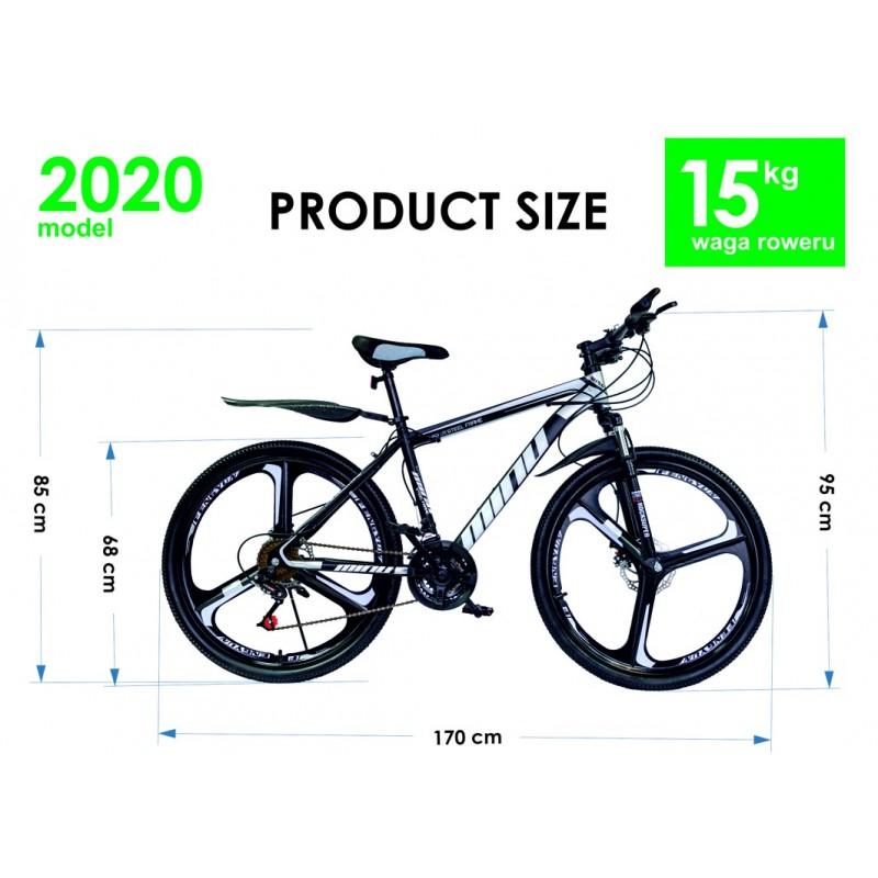 """Rower Górski MTB Minu Czarno-biały 26"""" 3R"""