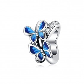 Charms zawieszka 925 Niebieskie motylki