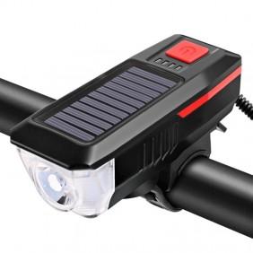 Lampa rowerowa przód LED solarna na USB  YTL-02