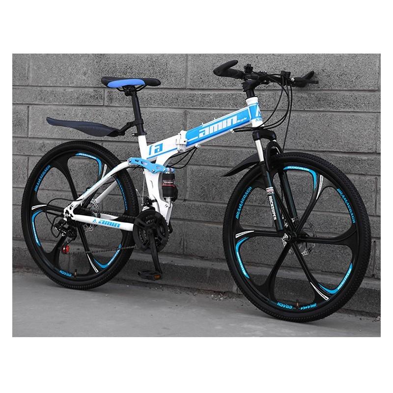 """Rower górski składany MTB Amin 26"""" 6R Biało-niebieski"""