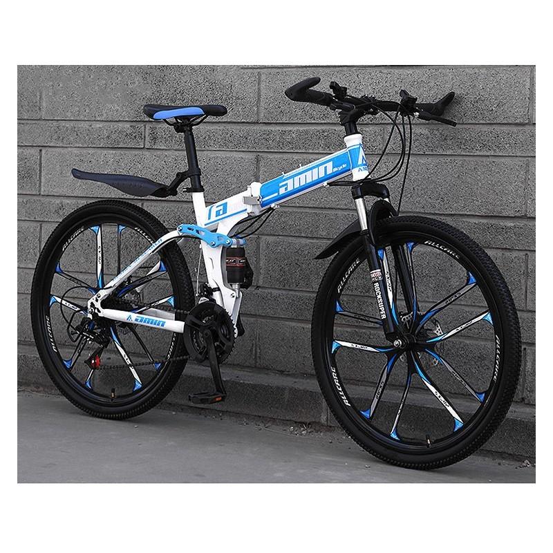 """Rower górski składany MTB Amin 26"""" 10R Biało-niebieski"""