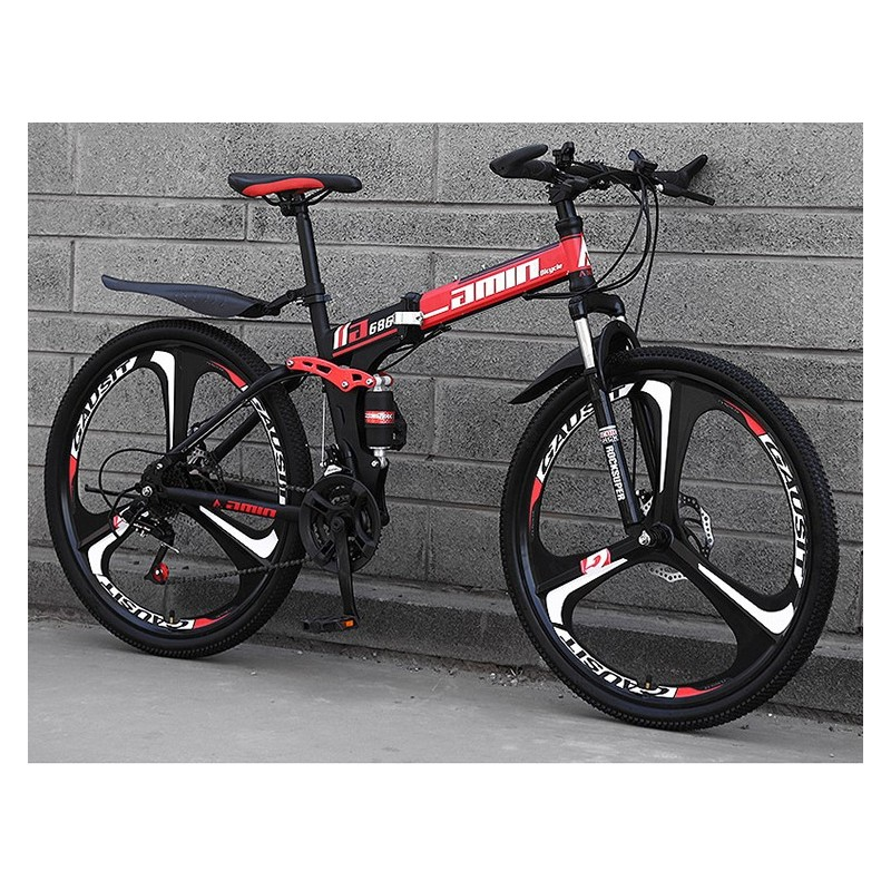 """Rower górski składany MTB Amin 26"""" 3R Czarno-czerwony"""