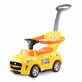 Jeździk pchacz sportowy samochód żółty dźwięki